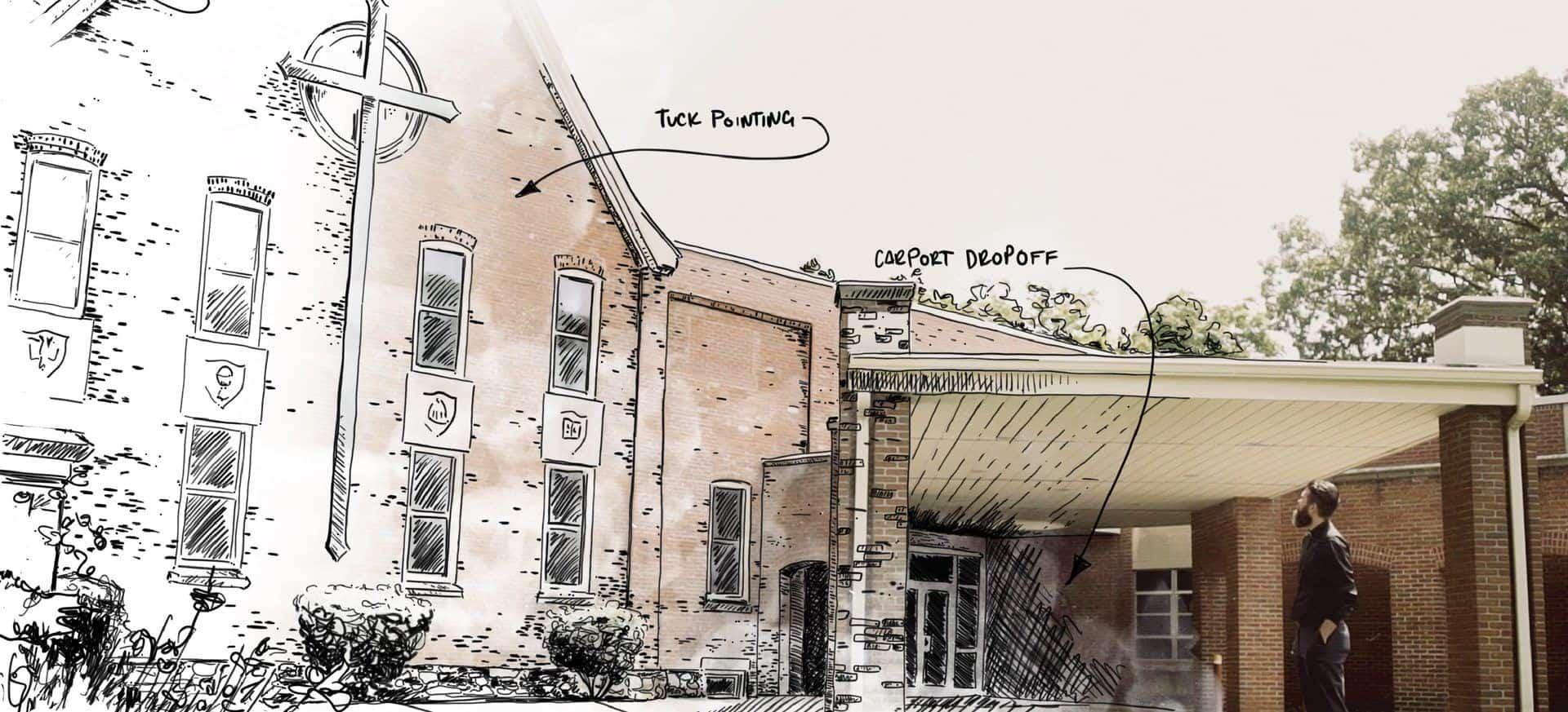 Sketch over Faith Lutheran Church