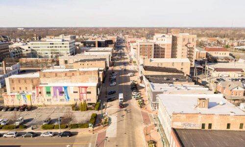 CFEC downtown Elkhart drone photo.